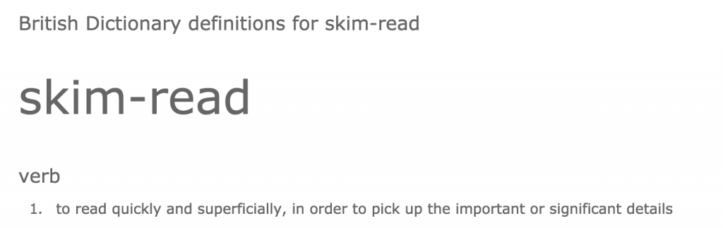 Skim reading defintion