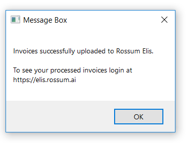 Rossum with UiPath - upload confirmation