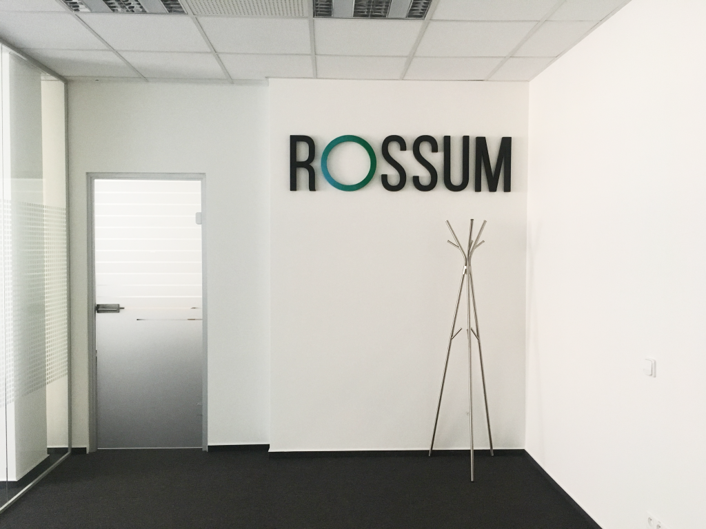 Rossum logo on the wall