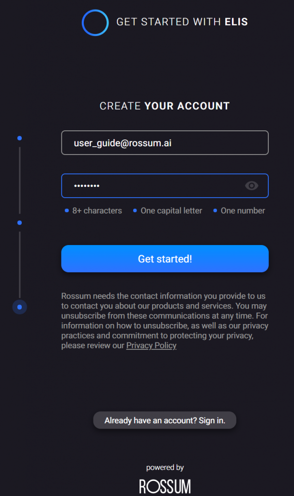 Getting started - creating an account