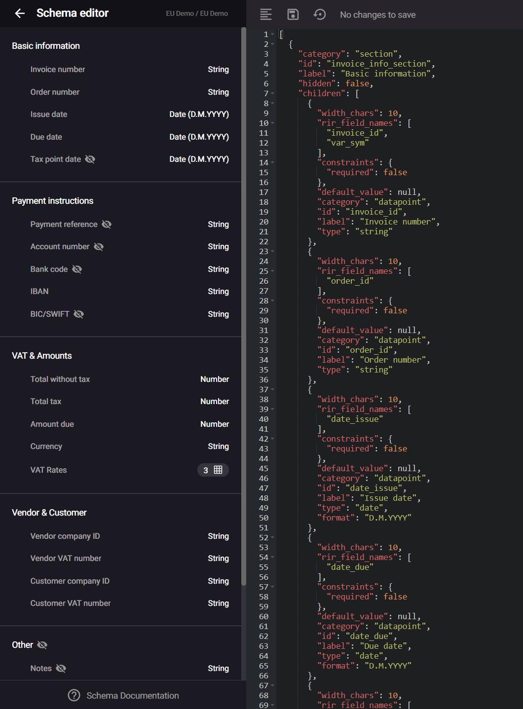 Exploring the schema editor