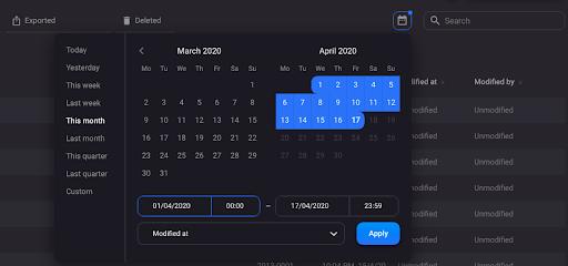 Date range filtering